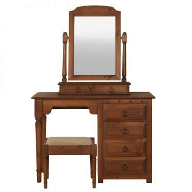 Handmade Dressing Table with Mirror and Stool