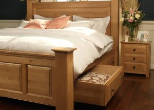 Large Oak Bed with Storage Drawers and Bedside Cabinet