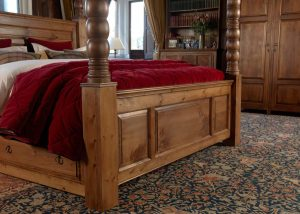 Solid Wood Four Poster Bed Footboard Panelled Detail with 3 Door Wardrobe