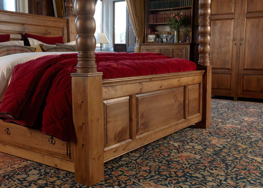 pleasant 4 poster bed frame. Solid Wood Four Poster Bed Footboard Panelled Detail with 3 Door Wardrobe Large  Ambassador