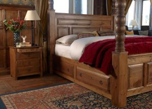 Solid Wood Four Poster Bed with 3 Door Bedside Cabinet