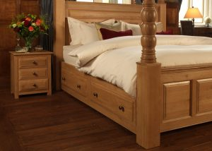 Oak Four Poster Bed with Under Bed Storage Drawers and 3 Door Bedside Cabinet
