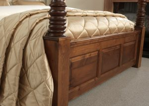 Natural Solid Wood Four Poster Bed Panelled Footboard Detail