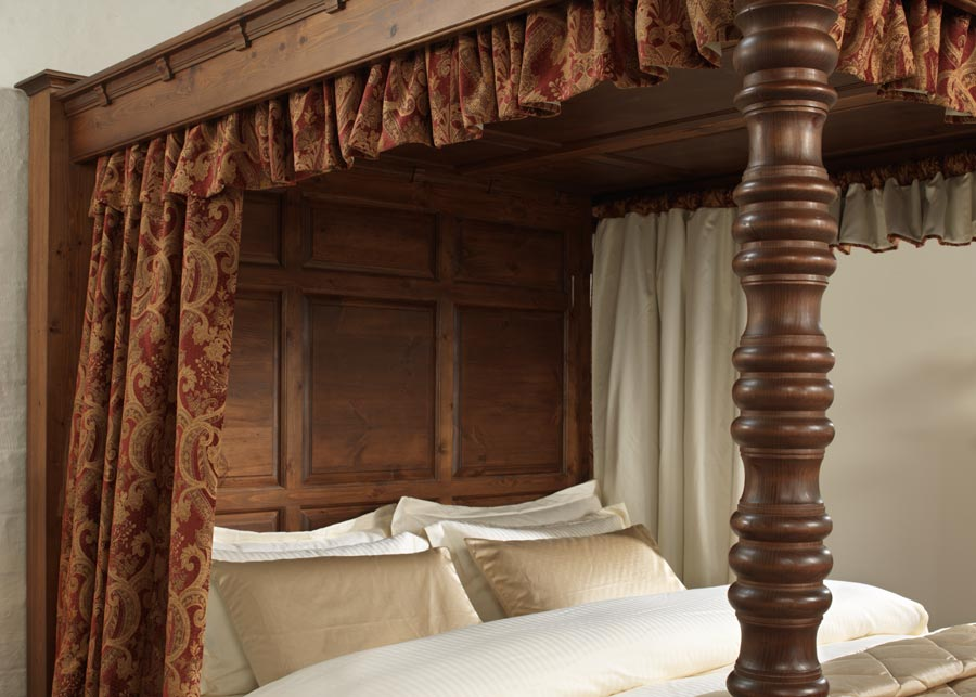Natural Solid Wood Four Poster Bed Full Headboard and Canopy Detail
