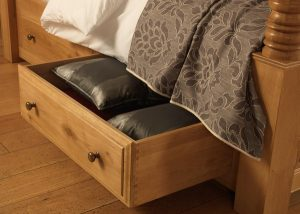 Solid Oak Underbed Storage Drawers with Brass Knobs