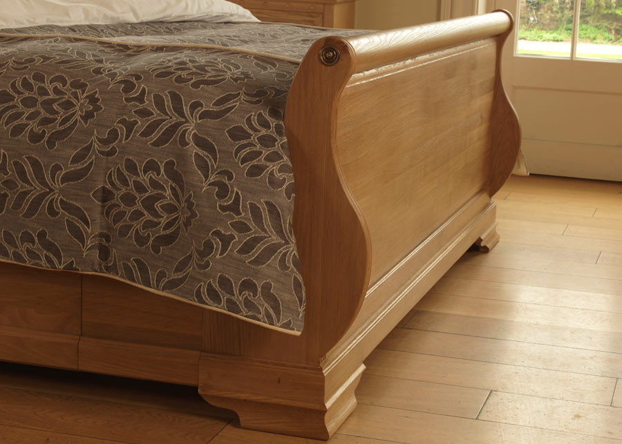 Sleigh Bed Footboard in Solid Oak