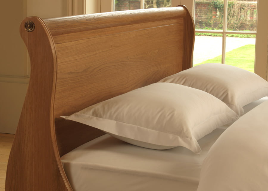 Sleigh Bed Headboard in Solid Oak