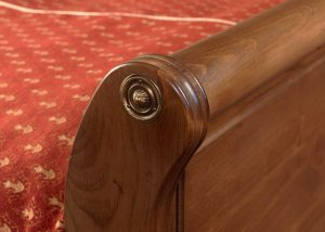 Wooden Sleigh Bed Footboard Detail