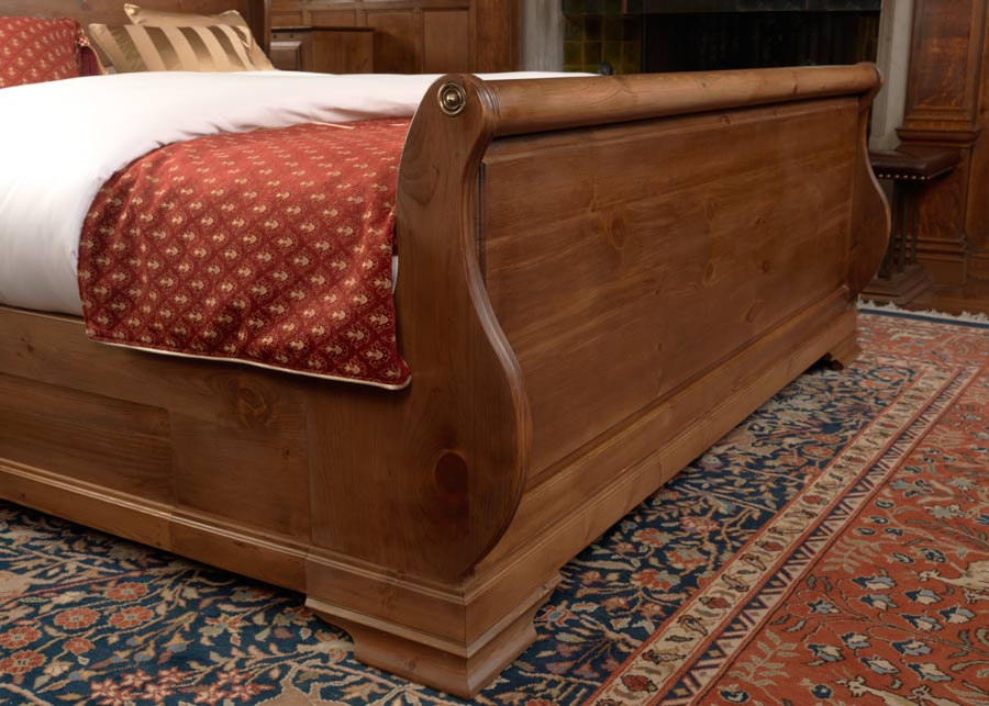 Solid Wood Sleigh Bed Footboard
