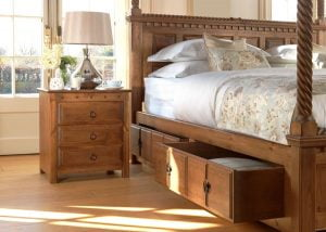 Natural Wood Four Poster Bed with Underbed Storage and Large Wooden Bedside Cabinet