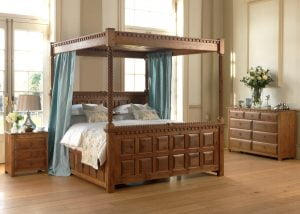 Natural Wood Four Poster Bed with High Footboard and Bedroom Furniture
