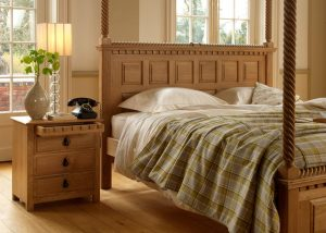 Oak Four Poster Bed Panelled Headboard and Large Bedside Cabinet