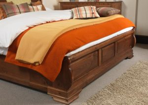 Sleigh Bed Footboard Handmade from Natural Wood