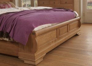 French Sleigh Bed Footboard in Solid Oak