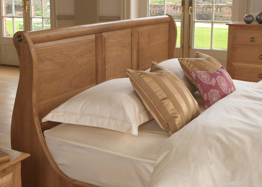 French Sleigh Bed Headboard In Solid-Oak