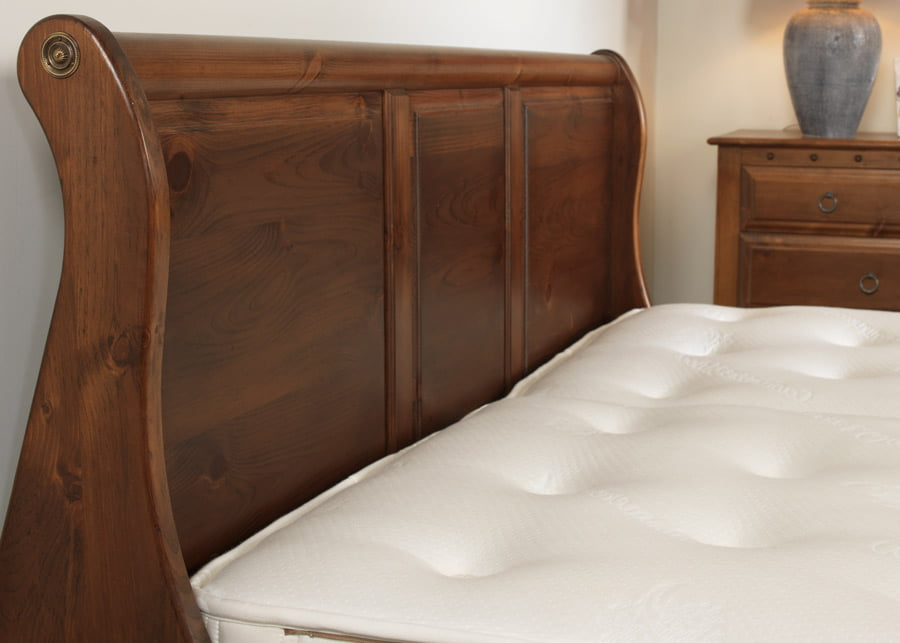 Sleigh Bed Headboard Handmade from Natural Wood