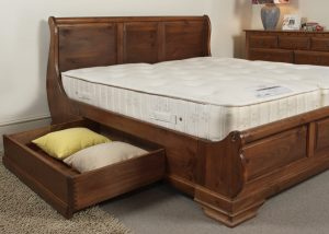 Sleigh Bed with Open Storage Drawer