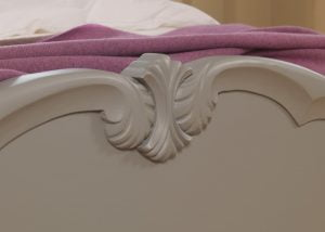 Painted French Wooden Bed Footboard Detail