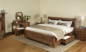 Solid Wood Sleigh Bed with Bedside Cabinet and Dressing Table