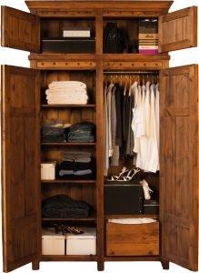 Solid Wood 2 Door Wardrobe with Top Box's