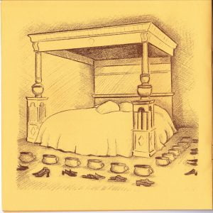 Drawing of Four Poster Bed