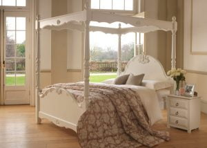 Painted Four Poster Bed with Bedside Cabinet