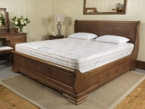 Sleigh Bed with Pocket Sprung Mattress and Pillows