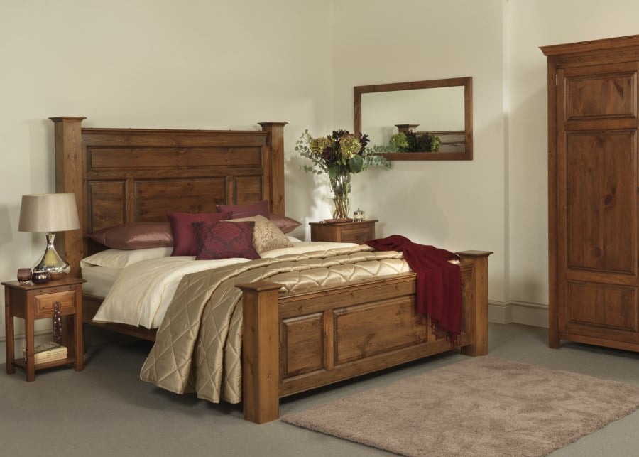 Handmade Traditional Bed Frame with Bedside Cabinet and Wardrobe