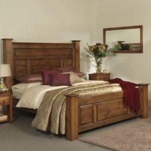 Super Kingsize Handmade Wooden Bed with Tall Headboard