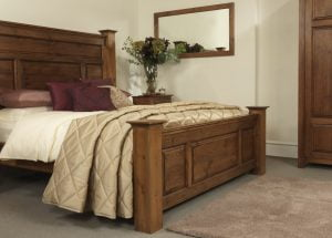 Handmade Solid Wood Bed Frame in Dark Wood