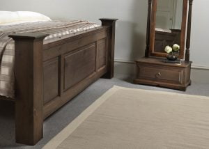 Footboard Detail and Free Standing Mirror with Drawer