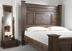 Extra Large Wooden Bed with Free Standing Mirror with Drawer