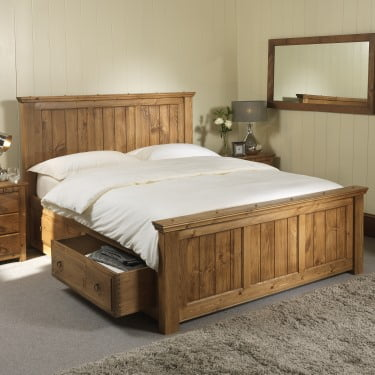 Handmade Solid Wood Shaker Bed with Storage Drawers