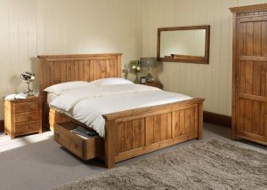 New England Wooden Bed with Bedside Cabinet