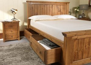 New England Bed with Storage Drawers and Bedroom Furniture