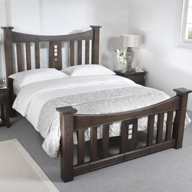Solid Wood Mackintosh Bed Frame in Dark Wood with Bedroom Furniture