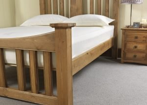 Traditional Solid Wood Bed with Bedside Cabinet