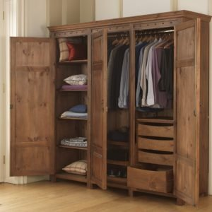Handcrafted 3 door wooden wardrobe with drawers