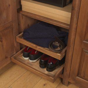 Handmade sliding show tray in solid wooden wardrobe