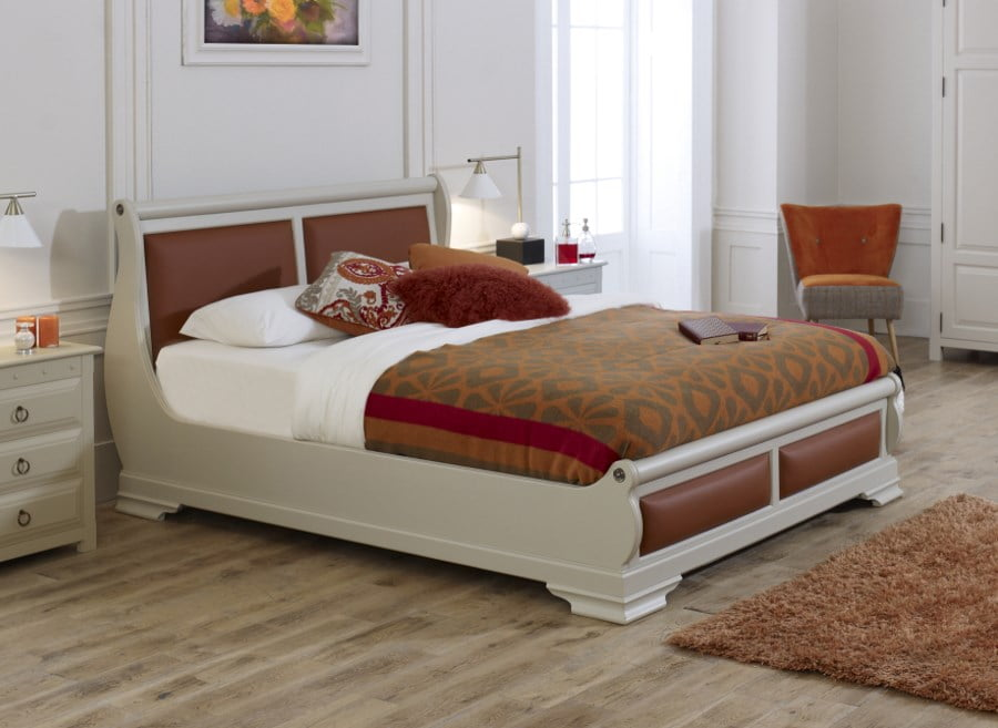 Solid Wood Painted Sleigh Bed with Orange Leather and Bedside Cabinet