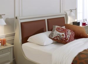 Painted Sleigh Bed Headboard with Orange Leather Panels