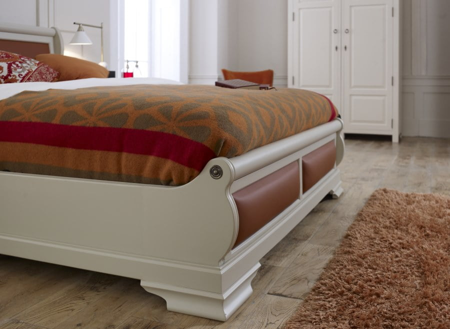 Handcrafted Sleigh Bed Leather Footboard Detail