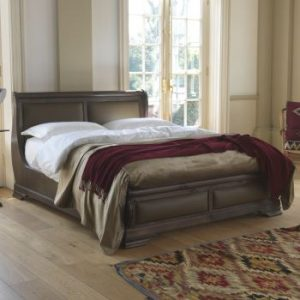 Handcrafted Sleigh Bed with Real Leather