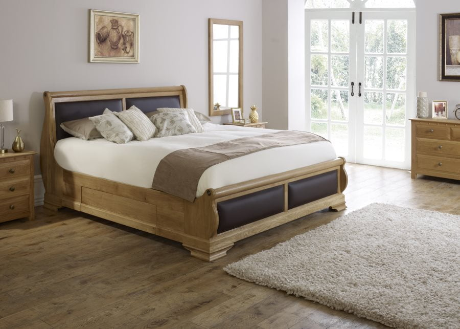 Wooden Sleigh Bed with Bedside Cabinet and Chest of Drawers