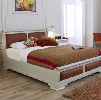 King Size Painted Sleigh Bed with Orange Leather