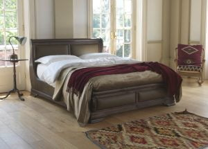 Kingsize Walnut Sleigh Bed with Dark Leather Panelling