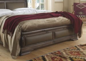 Solid Wooden Sleigh Bed in a Walnut Finish with Dark Leather