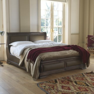 Real Leather Solid Wood Sleigh Bed