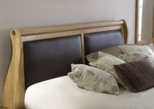 Oak Sleigh Bed Headboard with Chocolate Leather
