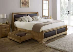 Wooden Sleigh Bed with Underbed Storage Drawer and Wall Mirror